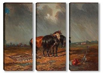 Модульная картина Лошади на поле.