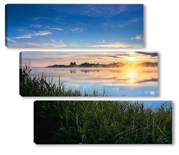 Модульная картина Рассвет на Колыванском озере