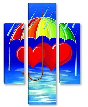 Модульная картина Под зонтиком