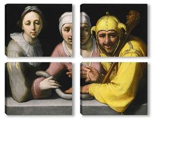 Модульная картина Дурак с двумя женщинами, 1595