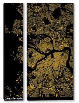 Модульная картина Карта Санкт-Петербурга