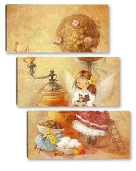 Модульная картина Кофейная фея