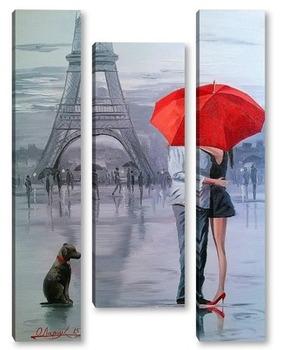 Модульная картина Париж для двоих