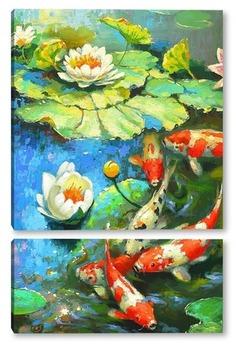 Модульная картина Карпы и лилии