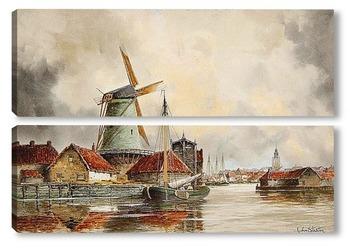 Модульная картина Канал сцены, Роттердам