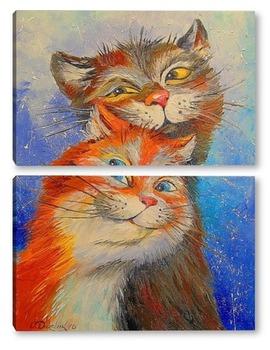 Модульная картина Влюбленные котики