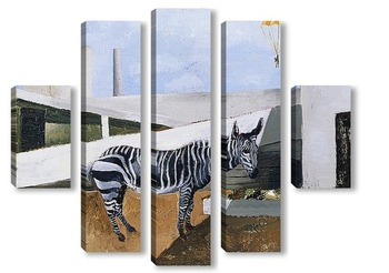 Модульная картина Зебра и парашютист