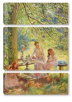 Модульная картина Портрет жены художника и их дочек Ольги и Марины