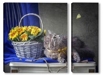 Модульная картина Кошка и бабочка