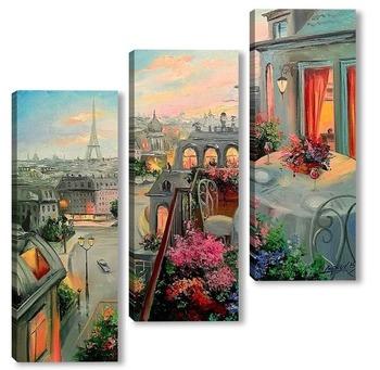 Модульная картина Вдвоем в Париже