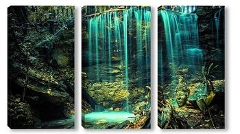Модульная картина водопад на земле индейцев Мая. Мексика