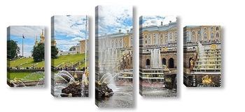 Модульная картина Гуляния в Петергофе