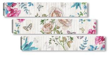 Модульная картина Ретро цветы