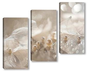 Модульная картина Нежные прозрачные листья с бусинками жемчуга