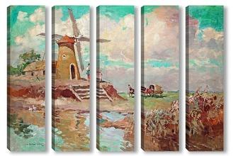 Модульная картина Пейзаж с ветряной мельницей