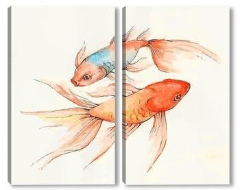 Модульная картина Золотые рыбки