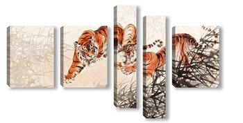 Модульная картина Тигры в кустах