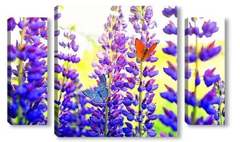 Модульная картина бабочки на люпинах