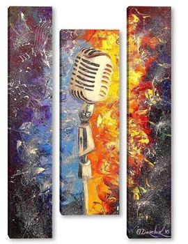 Модульная картина Музыка с микрофона