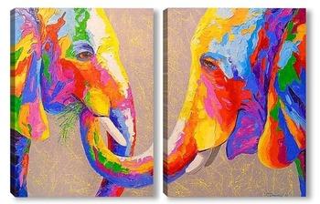 Модульная картина Забота слонов