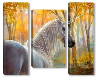 Модульная картина Единорог в осеннем лесу