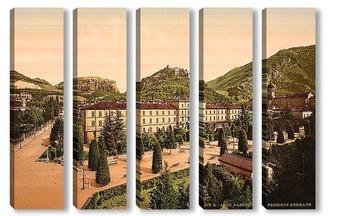 Модульная картина Альберго, общий вид, Озеро Гарда, Италия