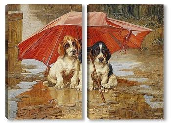 Модульная картина Под зонтом