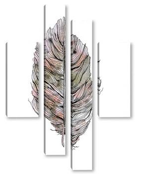 Модульная картина Перо в графике
