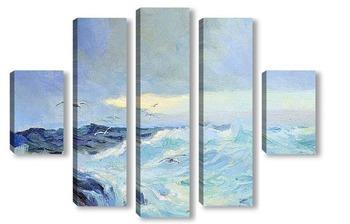 Модульная картина Морской пейзаж с чайками