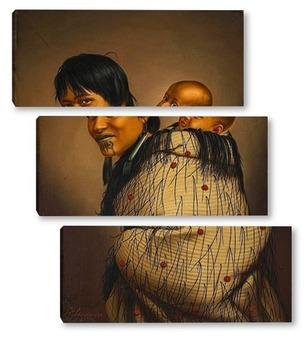 Модульная картина Хеени Хирини с ребёнком