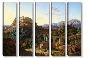 Модульная картина Пейзаж с замком Масса ди Каррара