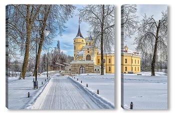 Модульная картина В Павловске зима. Крепость Бип в парке Мариенталь.