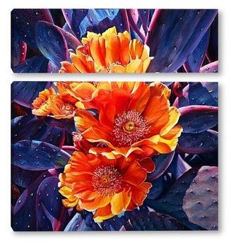 Модульная картина Цветы опунции. Недотроги