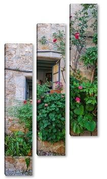 Модульная картина Окно с цветником