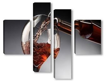 Модульная картина Бокал с розовым вином