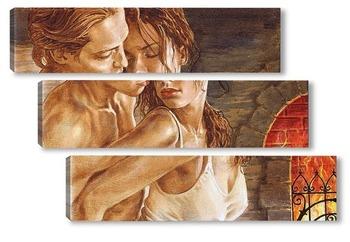 Модульная картина Любовь у камина 2