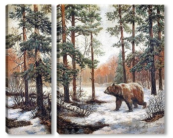 Модульная картина Зимний пейзаж с медведем