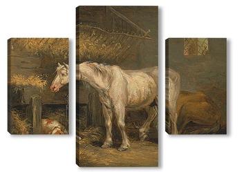 Модульная картина Старая лошадь с собакой в стойле