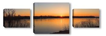 Модульная картина закат на реке