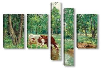 Модульная картина Пасторальный пейзаж с коровами