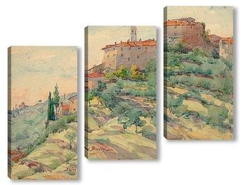 Модульная картина Итальянский пейзаж с замком