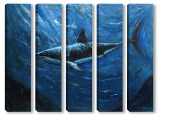 Модульная картина Акула. Подводный мир