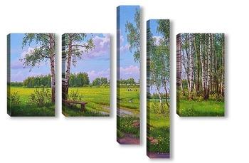 Модульная картина Май. Березы. Цветут одуванчики