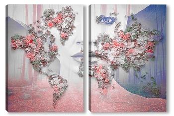 Модульная картина Цветущая карта мира