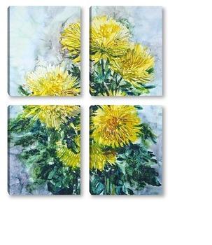 Модульная картина Желтые хризантемы