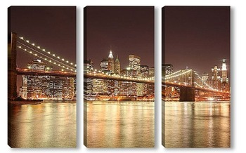 Модульная картина Вечерние огни в большом городе