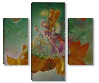 Модульная картина Осенний лист