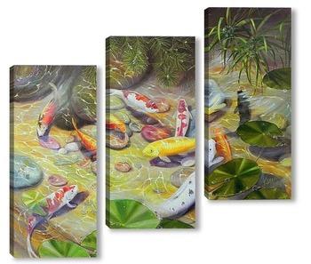 Модульная картина Карпы Кои (Фэн Шуй)