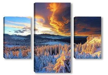 Модульная картина Закатные горы