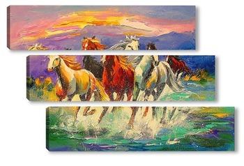 Модульная картина Табун лошадей
